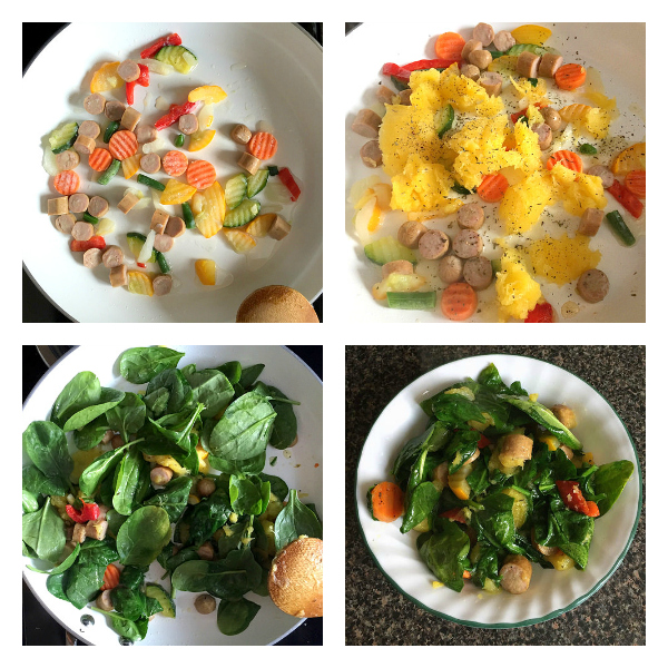Quick paleo breakfast recipe filled with organic veggies, sausage, winter squash, and greens.