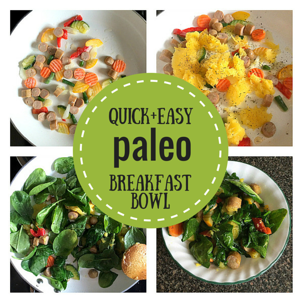 Quick Paleo Breakfast Recipe -- my favorite morning breakfast bowl filled with organic veggies, sausage, winter squash, greens, & healthy fat. Easy to make and easy to modify with different veggies, meats, herbs, and spices! #paleo #breakfast #eggfree #noeggs
